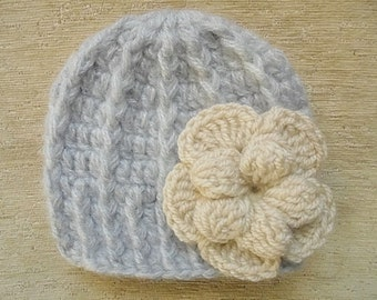 Winter baby hat Mohair baby hat Gray baby girl hat Newborn girl hat Baby girl hat Gray newborn hat Crochet baby hat Girls winter outfit