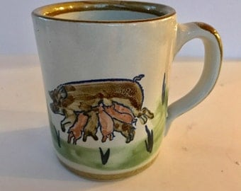 Louisville Stoneware Mother Pig and Piglets Coffee Mug