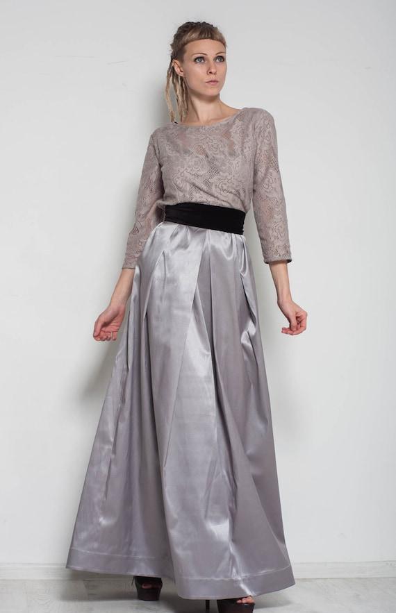 maxi formal dress evening grey dress floor lace dress long