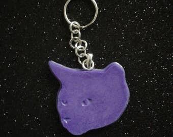 Purple cat head keychain
