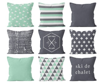 Mountain Ski Pillow Cover Mint Grey Cabin Cushion Cover Minimalist Scandinavian Geometric Pillow Cover Collection, Green Gray Pillow Covers