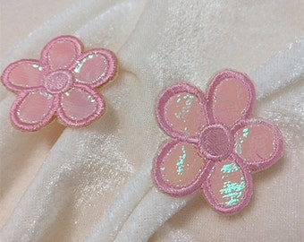 Wholesale bulk lot 50pcs pink  flower    embroiderked iron on patch 3.2cm