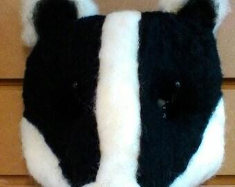 Needle felted Badger mask, Shakespeare-esk