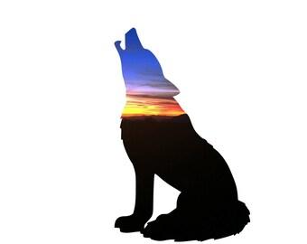 Wolf Art, Wolf Silhouette Print, Wolf Wall Decor, Wolf Wall Art, Cabin Wall Decor, Sunset Photography, Animal Art Print, Wolf Canvas Art