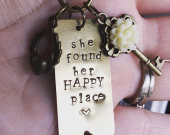 "Inspirational hand stamped necklace, ""she found her HAPPY place"" charm necklace"