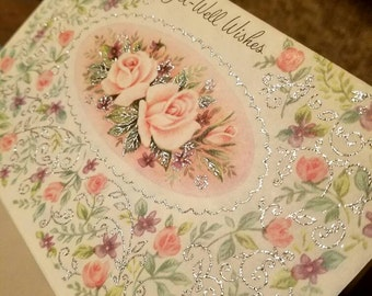 "Vintage Greeting Cards. 1960's Unused ""Get Well Wishes"" Card. With Envelope."