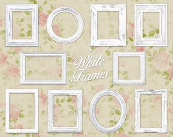 "White Shabby Chic Picture Frame Clip Art Clipart: ""White Frames"" digital wood frames, ornate picture frames, distressed picture frame"