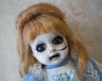 Sad Girl Doll with Cracked Face #94  Dark Art  Horror Collectible
