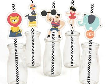Circus / Carnival Party - Die-Cut Straw Decorations - Vintage Baby Shower or Birthday Party Paper Cut-Outs & Striped Paper Straws - 24 Ct.