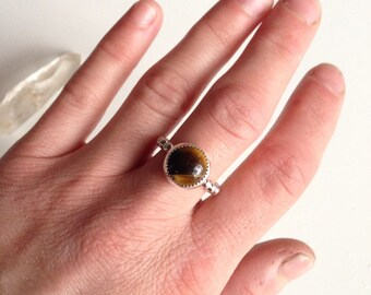 Tigers Eye Ring with Silver Beaded Band made with .925 Sterling Silver SIZE 5.75-6 for the free spirit, bohemian metaphysical & stone lover