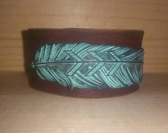 Metal feather cuff bracelet