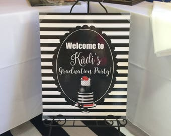 Graduation Party, Kate Spade Inspired Printable Sign, Customized with graduates name, Large format printable, Welcome sign, 16x20, 24x30