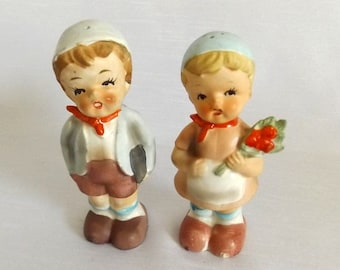Vintage Enesco Salt and Pepper Shakers - Bisque Boy and Girl Shakers - Hummel Style Kids