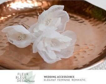 set of silk hair flowers | flower hair pins | flowers for the bride | flower headpiece | bridal hair pins | bridal headpiece