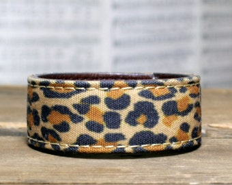 CUSTOM HANDSTAMPED narrow animal print leather cuff by mothercuffer