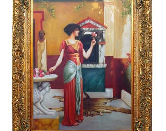 Original Oil Painting Reproduction of The Bouquet, 1899 by John William Godward (1861-1922) on Canvas 36x48 Stretched ONLY or Framed