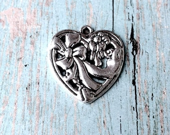 4 Large heart charms (1 sided) antique silver tone - floral heart pendants, valentine charms, sweetheart charms, silver love charms, JJ14