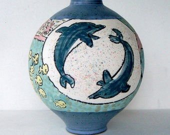 Unique Vintage Handmade Ceramic Vase Signed by the Artist/Fishes of the Ocean/One of a Kind