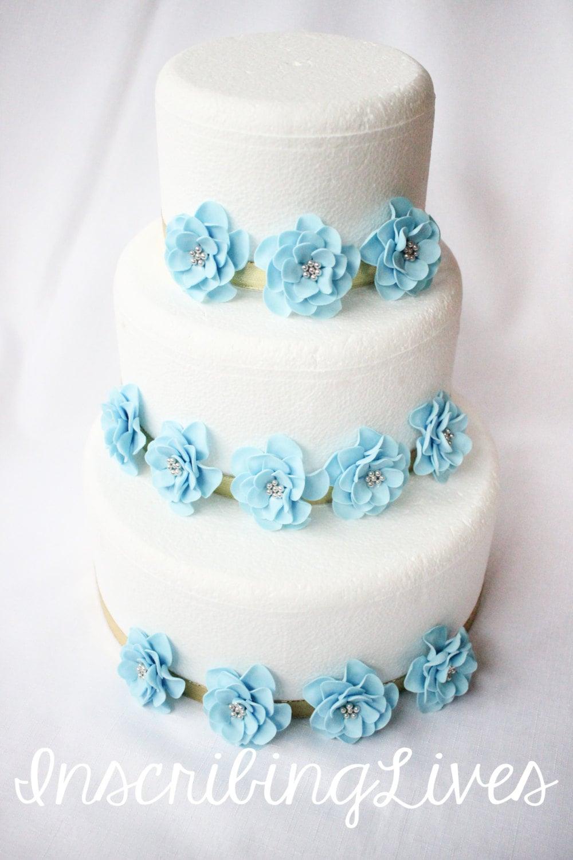 baby blue fondant flowers 12pcs Vintage wedding cake topper silver ...