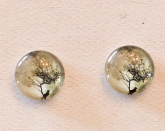 Earrings, glass cabochons 12 or 16mm
