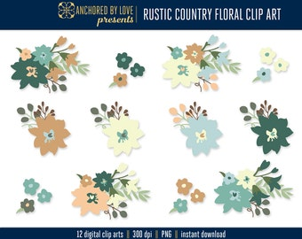 Rustic Country Wedding Clipart, Rustic Clip Art, Fall Flowers Clipart, Rustic Wedding Clipart, Floral Clip Art, Flower Clip Art