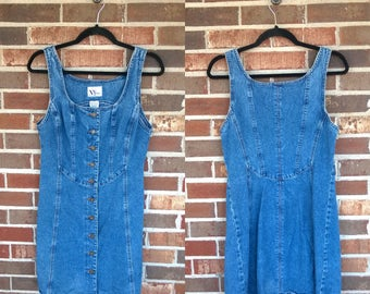 1990s Structured Short Button Up Denim Dress, 8