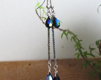 Vintage Sterling and Blue Crystal Earrings Dangle Cobalt Blue Earrings