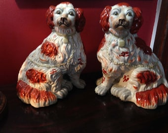 Vintage Staffordshire Style Dogs - King Charles Spaniels - Open Foot