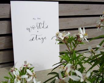 Handwritten Shakespeare quote, A5