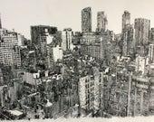 New York, large landscape etching