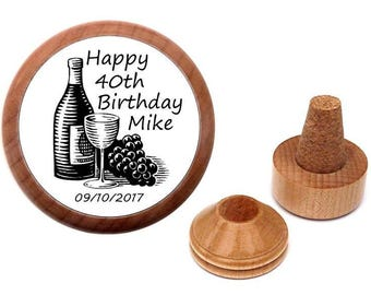 Personalized 40th Birthday gift for men | 40 year old. 40 th birthday present | Wine cork stopper