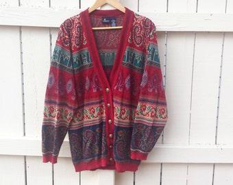 Vintage 1980s Lizsport Colorful Cardigan Sweater (L)