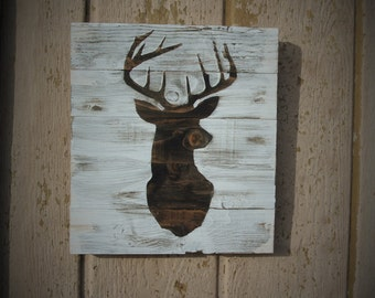 Buck Sign Whitetail Deer Decor Farmhouse Decor Rustic Home Decor Wood Deer Signs Man Gifts Hunting