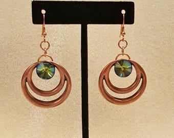 COPPER CIRCULAR EARRINGS, Beautiful Swarovski Crystal,