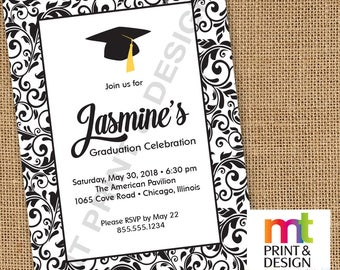 Graduation Party Drop-In Any Color Invitations PRINTED with envelopes