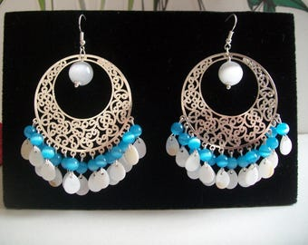 Blue cat eye earring