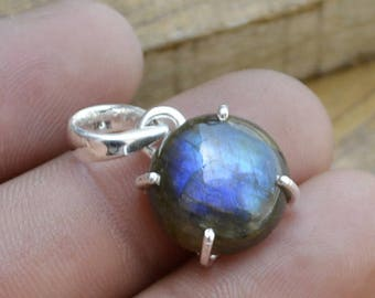 Labradorite Gemstone Pendant, 925 Sterling Silver Handmade Gift Pendant Jewelry, Prong Set Labradorite Gemstone Pendant, Birthstone Gift