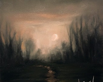 """Moon Painting, Tonal Landscape, Original Oil Painting,  6x6 Small Oil Painting, """"THE STILL"""""""