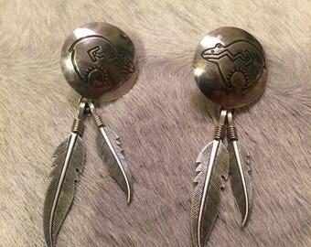Zuni bear feather sterling silver earrings