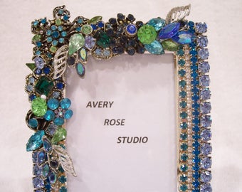 jeweled photo frame in shades of blues and green great gift