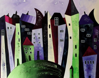 Old town purple/green - acrylic on canvas - 80 x 80 cm