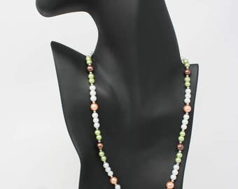 Spring Pearl Necklace and Earring Set, Pearl Necklace, Pearl Earrings.