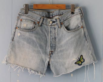 Vintage Levis Cut Off Shorts/501s/Faded/Distressed/Butterfly/32/