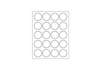 Blank Labels, 20 Per Sheet, Circle Labels (12 Sheets, 144 Labels)