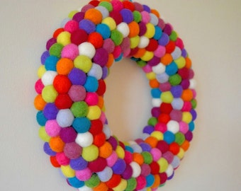Felt Ball wreath - Handmade to order.