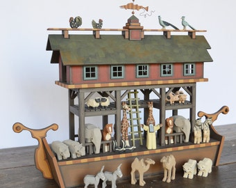Handmade Heirloom Wooden Noah's Ark