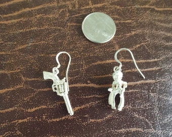 "Gun Revolver and cowboy  Sterling Silver Pierced Dangle Earrings 2.25"" long -Cowgirl Novelty, Dangle Drop Earrings, Vintage Gift 30"