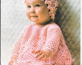 Old pretty crochet pattern for babies angel top and hat - 0-6 mths and 6 - 12 mths.  4 ply wool