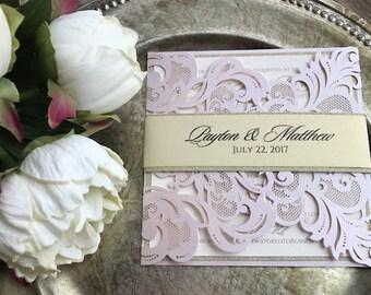 Laser cut wedding invitation, blush laser cut, blush wedding invitations, Glitter wedding invitation, laser cut pocket, blush and gold