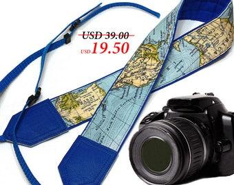World Map Camera Strap. Blue DSLR / SLR Camera Strap. Camera accessories. Photographer gift by InTePro
